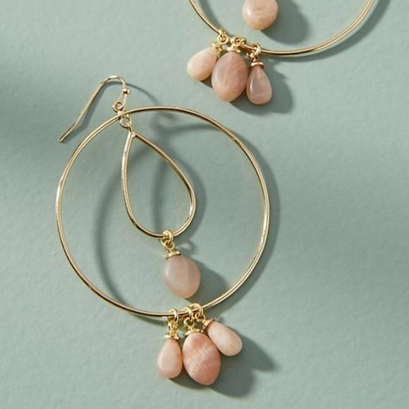 Anthropologie Tumbled Stone Double Hoop Earrings IBfKsP